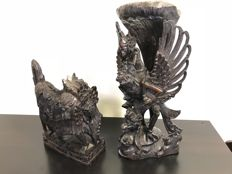 Wonderful hardwood Barong and Garuda statue - Bali - Indonesia - second half 20th century