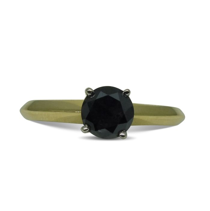 1.09 ct - Black Diamond Ring in 14kt Yellow Gold - ***No Reserve Price***