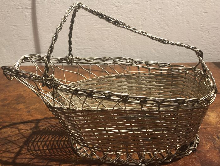 Woven Silver-plate Wine Bottle Basket