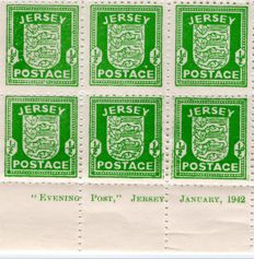 Jersey 1942 - WW2 German Occupation Local Arms Issue - Full Sheet Halfpenny Green
