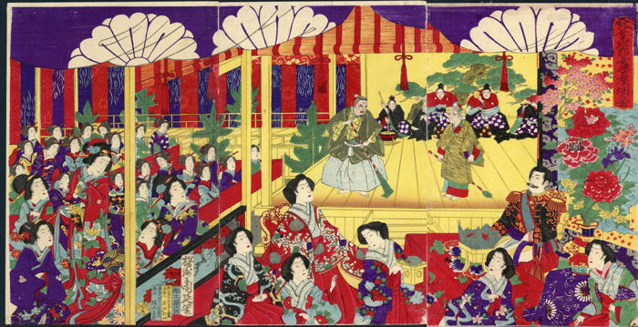 Woodblock print triptych by Toyohara Chikanobu (1838–1912) - 'Opening of the Nô Stage at the Kôyôkan Theatre' - Japan - 1881