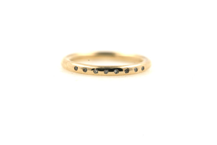 14 kt yellow gold women's ring 3.33 g set with 0.08 ct diamonds - ring size: 54 EU