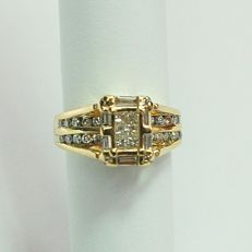 New gold ring made 14 kt. yellow gold with 1.45 carats total, natural diamonds / / No Reserve Price