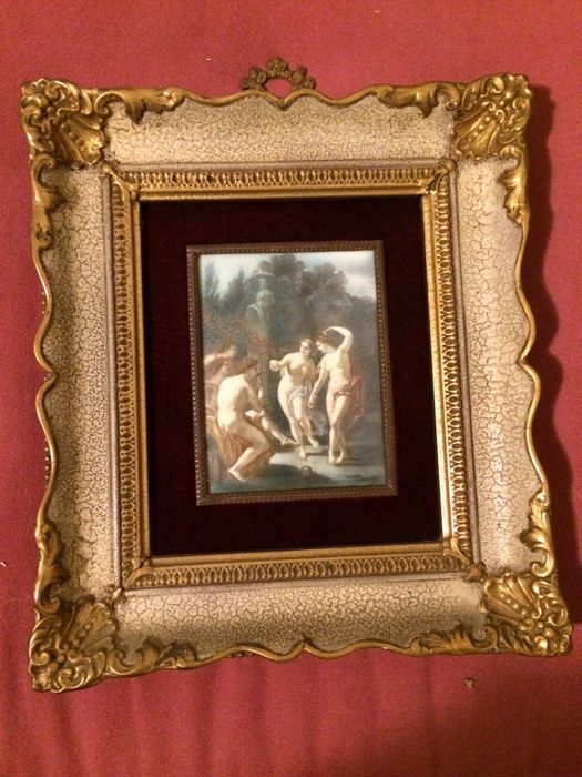 Antique painting on celluloid, with gilt wooden frame and curved ...