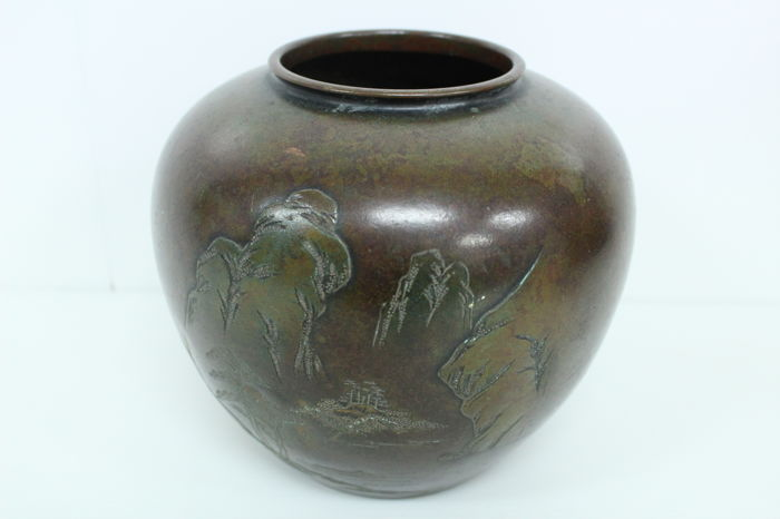 Copper flower vase with landscape in relief - marked \u0027Mitsunari\u0027 - Japan - Early & Copper flower vase with landscape in relief - marked \u0027Mitsunari ...