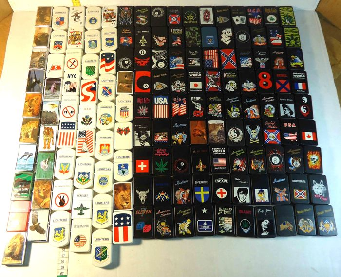 Large collection of 145 Zippo type petrol lighters, new and all different