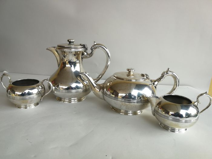 Nice silver plated 4-piece Tea Set with decorated edges