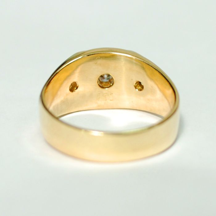 New hand made, man gold ring made 18 kt. yellow gold with 0.45 ...