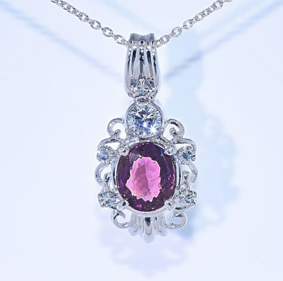 Pink Tourmaline with Diamonds necklace