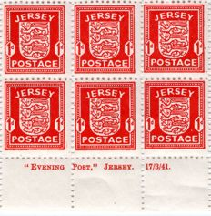 Jersey 1941 - WW2 German Occupation Local Arms Issue - Full Sheet Penny Red