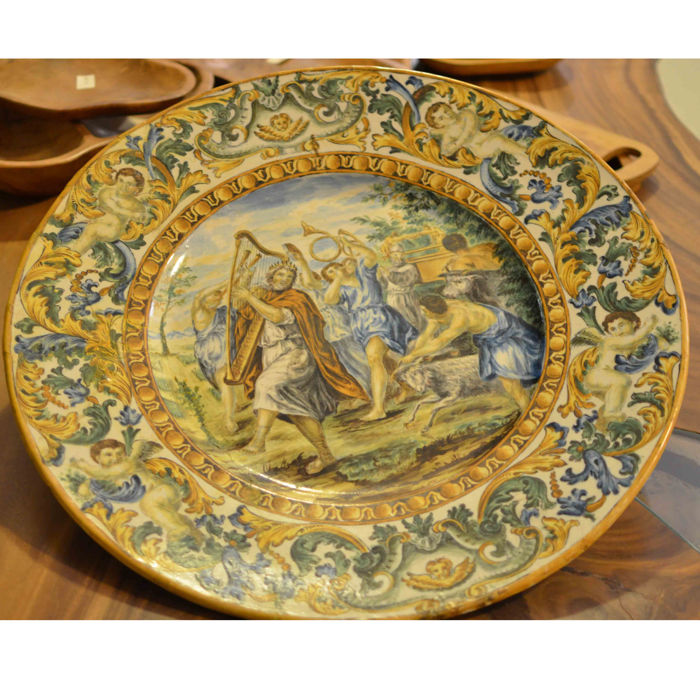 Large polychrome ceramic display plate, signed by Gaetano Battaglia (1850-1885)
