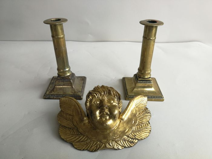 Antique angel made of laminate gold, early 1900 - a pair of bronze candlesticks