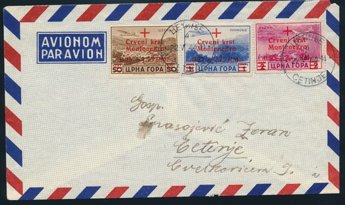 German Occupation Montenegro - 1944 - Postal stamps with overprint Refugee Assistance, ex. Michel 29-35