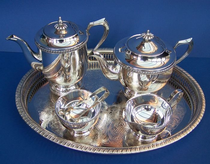 Vintage 1930s English Viners Silver Plated Tea Set, Tray and Sugar Tongs