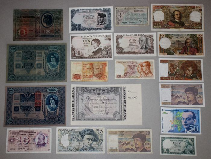 Europe - lot of 19 banknotes - 1902/1992