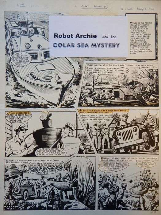 Kearon, Edward - Originele pagina - Archie, de man van Staal - Robot Archie and the Coral Sea Mystery - (1964)