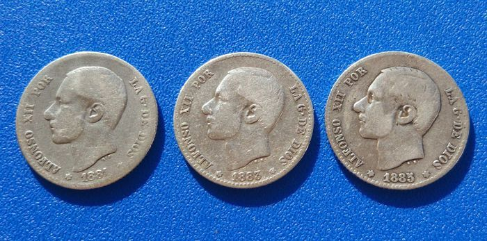 Spain - Lot of 3x 1 peseta coins 1881 'RARE' - 1883*18*83 - 1885 Alfonso XII - MS M Madrid