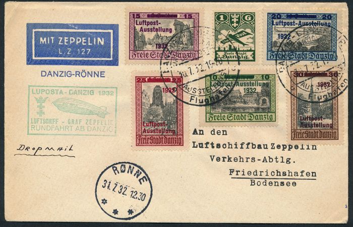 German Reich Danzig - 1932 - Zeppelin post, LZ 127, Luposta Danzig, Rønne airdrop with Michel 231-235