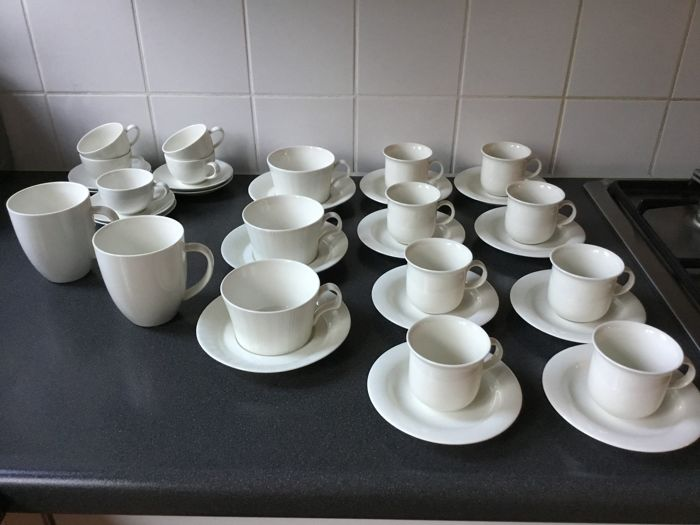 Arabia, Finland tableware, various types of cups, saucers and mugs