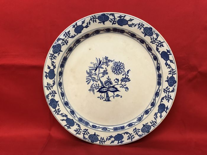 """Meissen"" large ceramic plate with blue decoration Marked S.C.I. (Società Ceramica Italiana)"