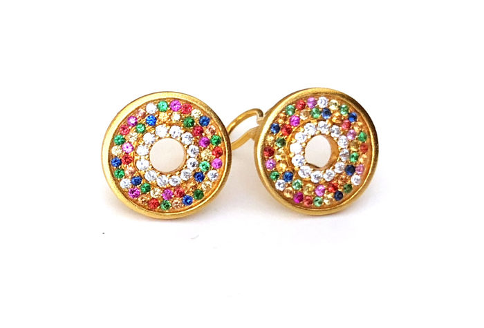 18k  Yellow Gold - Multicolor Sapphires - Diamonds Studs & Clips Earrings