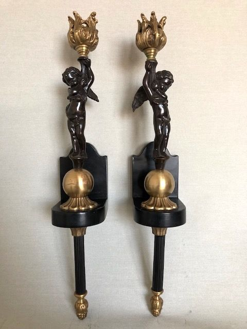 Angel wall sconce set - bronze - France - early 20th century