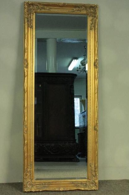 A beautiful, large, antique mirror in a golden, wooden frame - hand-made Poland