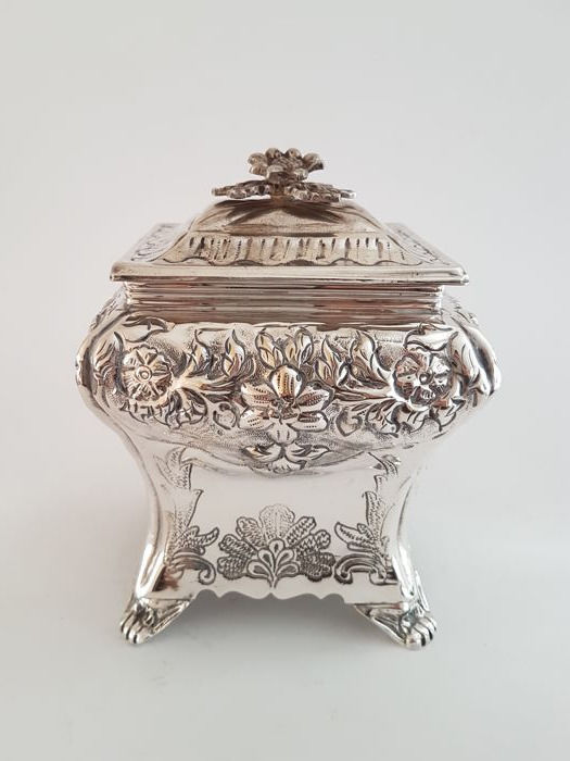 Silver plated richly decorated cookie jar brian highland silver plated richly decorated cookie jar brian highland sheffield thecheapjerseys Image collections