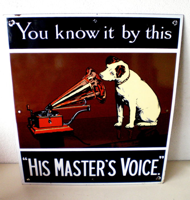 Large His Masters Voice advertising sign - enamel - circa 1975