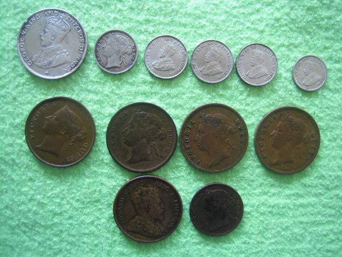 Straits Settlements - ½ Cent up to and including 50 Cents 1862/1927 (12 pieces)