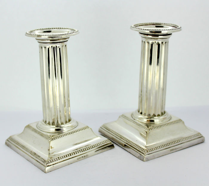Antique Pair of Silver Plate Candlesticks, By Hawksworth Eyre & Co & Regent Plate, Early 20th Century