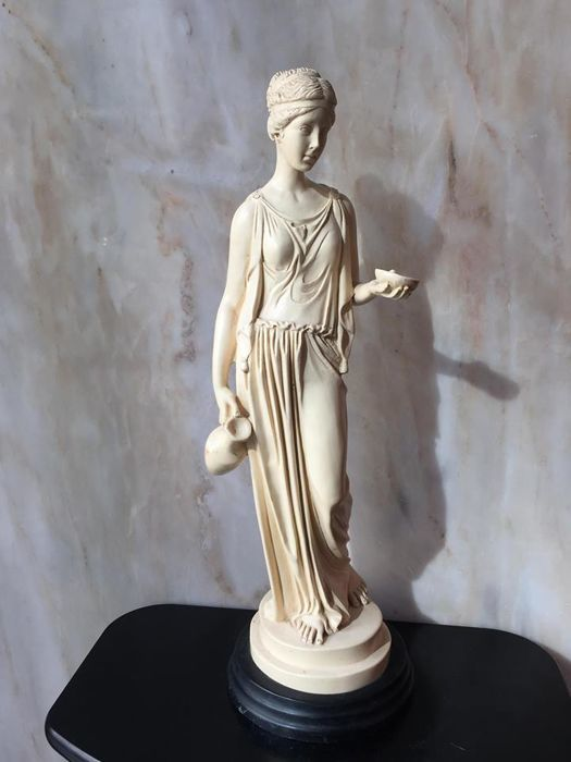 Goddess Juno in Ivorine and marble powder, Italy, 20th century