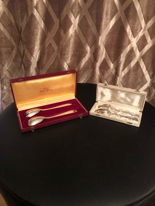 Lot of 2 silverware cases by the Orfèvrerie Saint Médard