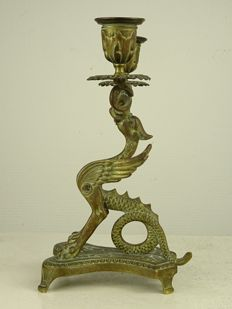 Bronze griffin candle stick - France - second half of the 19th century