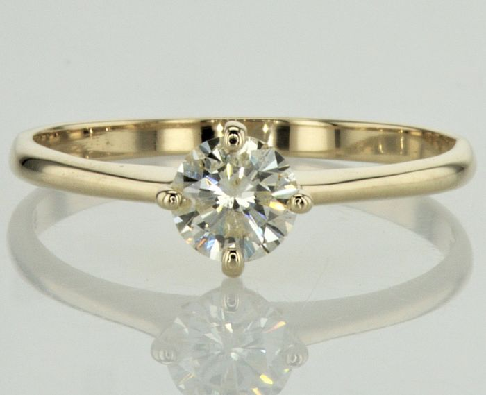 Solitaire Diamond Ring - 0.53 ct  - I color  / SI2 clarity -  14K Yellow Gold - 4 prong ,Size : FR -56 , USA-7.5