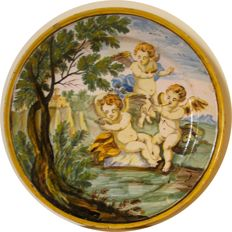 Itallian Castelli Cherubs Tin Glazed Plate - 18th Century