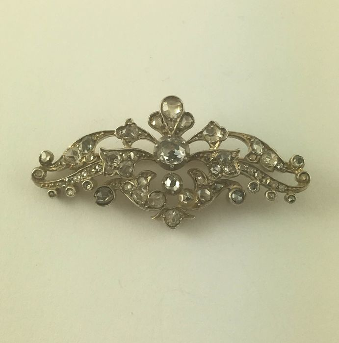 Brooch - 585 gold - 57 rough diamonds - antique