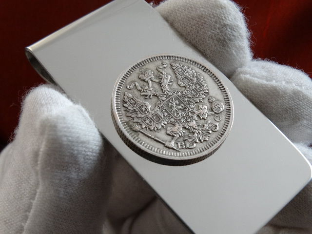 Money clip, with authentic silver coin with Romanov eagle