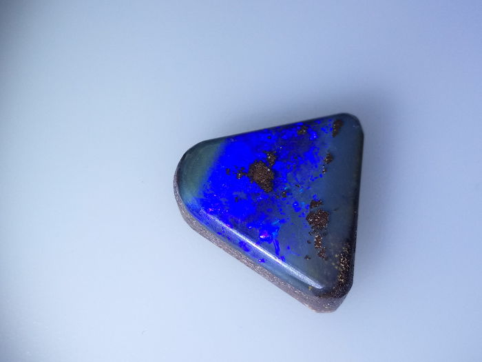 Fantastic Electric Blue/Purple Colors with Multi Flash Fires - Untreated 100% Natural Australian Boulder Opal Cab - 18.15 ct