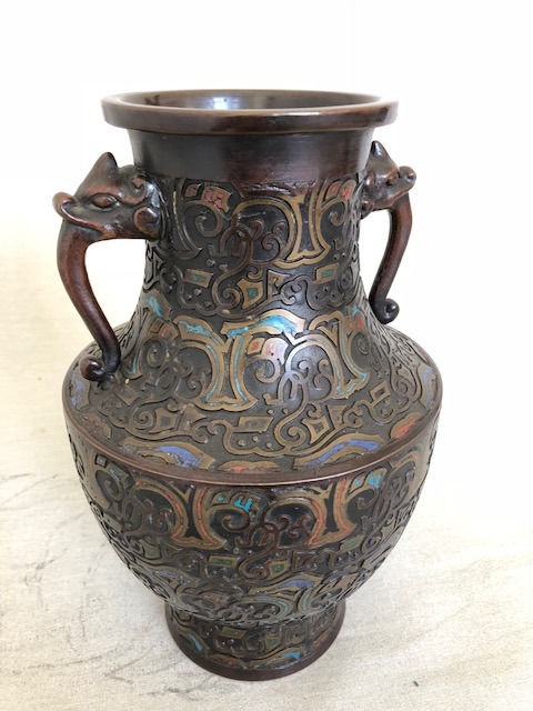 Bronze Champlev Vase With Beautiful Motifs Marked Japan Ca