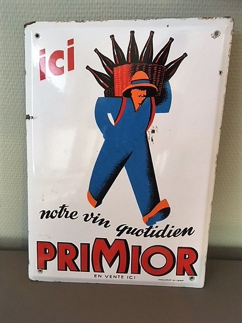"French enamel sign ""Vin PRIMIOR"" circa 1950"