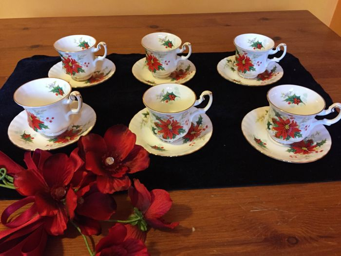 Royal Albert, Poinsettia, coffee service with large cups