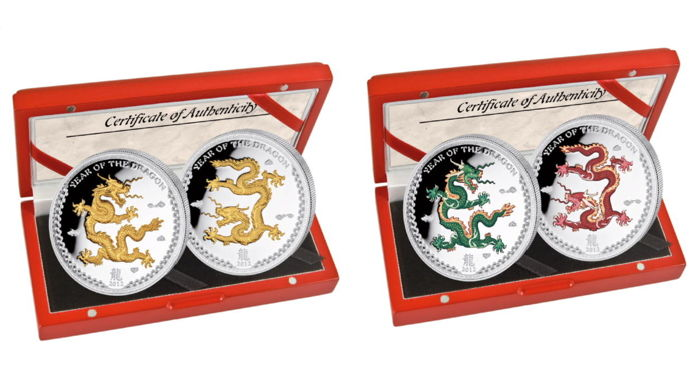 Palau - 5 Dollars 2012 Year of the Dragon - Color & Gilded Edition - 4x 1 oz - Silver