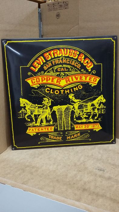 "enamel sign ""LEVI'S STRAUSS & CO."""
