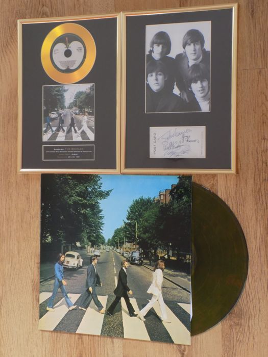 "The Beatles "" Abbey Road "" Green Vinyl LP , Framed Gold Coloured CD Display & The Beatles Framed Photograph Both With Printed Signatures."