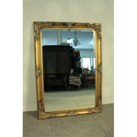 Large baroque mirror - hand made, gilded, wooden frame - dimensions: 106 x 76 cm