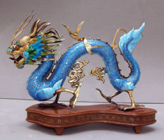 Export Silver Gilt and Enamel Cloisonne Dragon   - China - 2nd half 20th century .