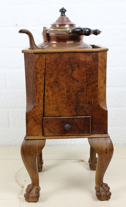 Burr-Walnut tea stove resting on claw feet with red copper kettle -Netherlands - 2nd half 1800