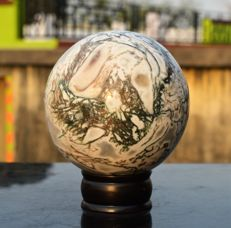 Natural White Moss Agate Crystal Sphere Ball - 11.5 cm - 1880 gm