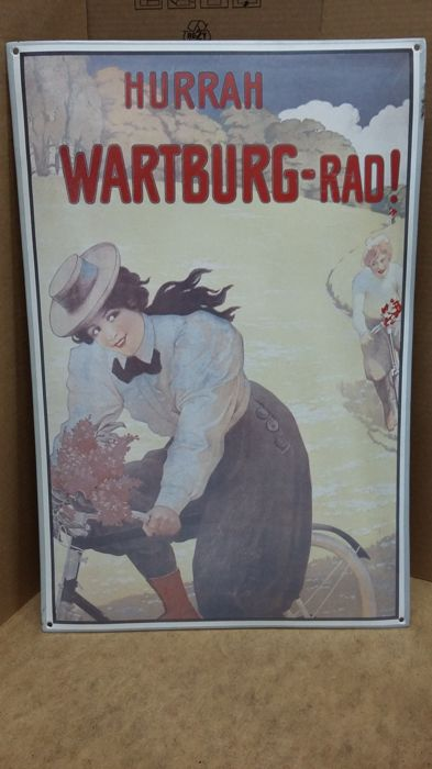 "Enamel sign ""Hurrah Wartburg-rad"""